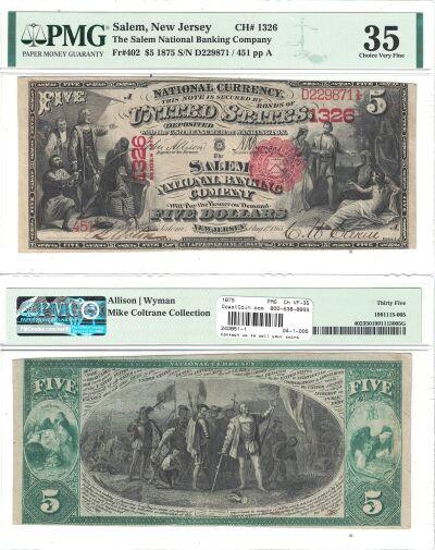 1875. $5. PMG. Ch VF-35. NJ. Salem. Charter 1326.