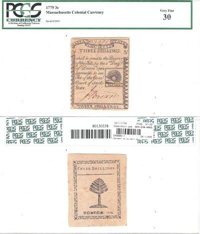 12/1/1779. MA. Three Shillings. PCGS. VF-30.