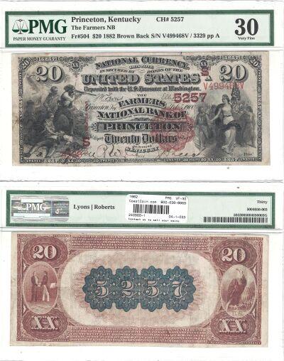 1882. $20. PMG. VF-30. KY. Princeton. Charter 5257
