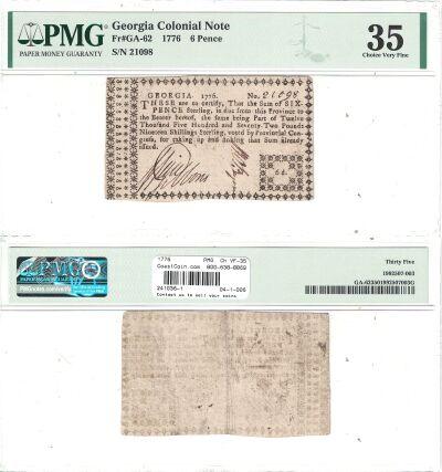 1776. GA. Six Pence. PMG. Ch VF-35.