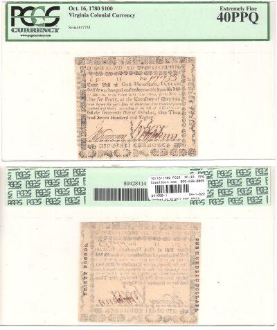 10/16/1780. VA. One Hundred Dollars. PCGS. XF-40.