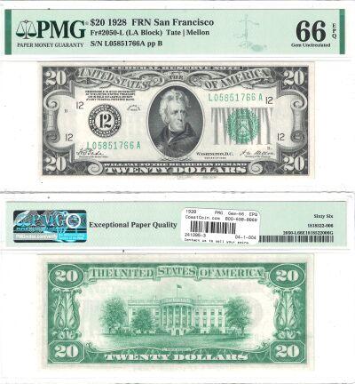 1928. $20. F-2050-L. PMG. Gem-66. EPQ. Federal Res