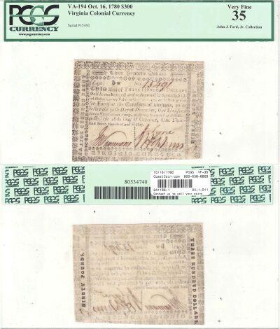 10/16/1780. VA. Three Hundred Dollars. PCGS. VF-35