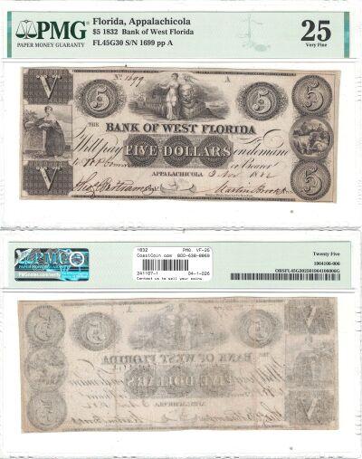 1832. $5. PMG. VF-25. FL.