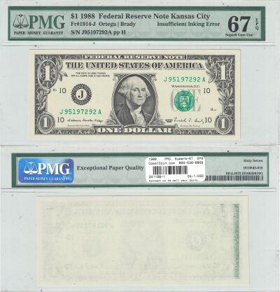 1988. $1. PMG. Superb-67. EPQ. Federal Reserve Not