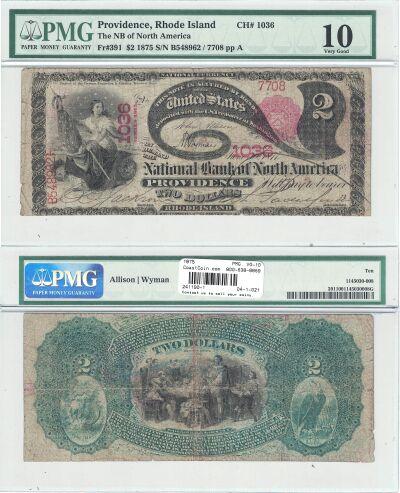 1875. $2. PMG. VG-10. RI. Providence. Charter 1036
