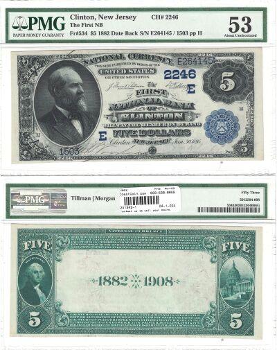 1882. $5. PMG. AU-53. NJ. Clinton. Charter 2246.