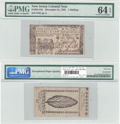 12/31/1763. NJ. One Shilling. PMG. Ch Unc-64. EPQ.