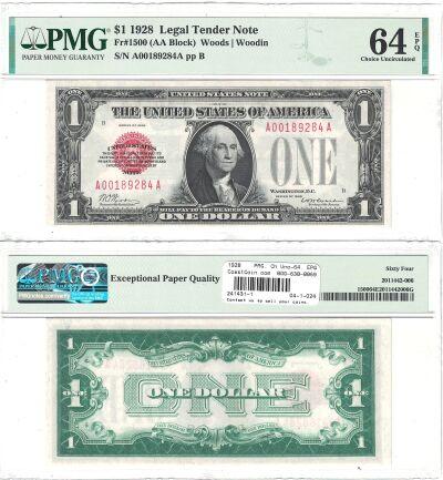 1928. $1. F-1500. PMG. Ch Unc-64. EPQ. Legal Tende