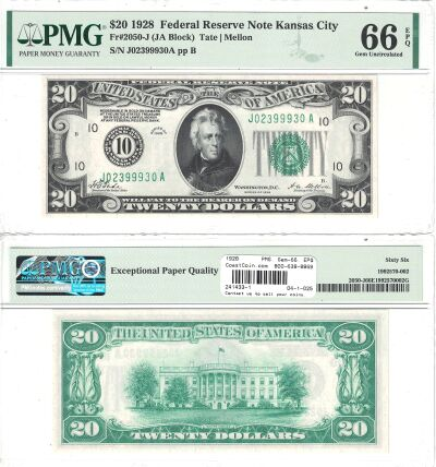 1928. $20. F-2050-J. PMG. Gem-66. EPQ. Federal Res