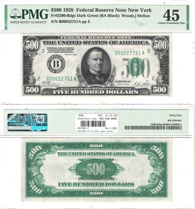 1928. $500. F-2200. PMG. Ch XF-45. Federal Reserve