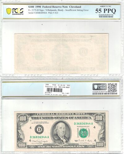 1990. $100. PCGS. Ch AU-55. PPQ. Federal Reserve N