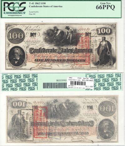 1862. $100. PCGS. Gem-66. PPQ. T-41.