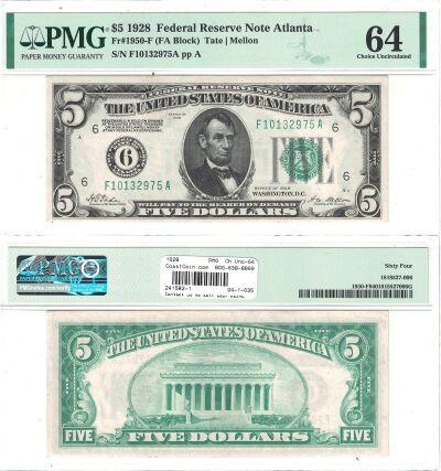 1928. $5. F-1950-F. PMG. Ch Unc-64. Federal Reserv