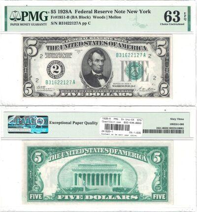 1928-A. $5. F-1951-B. PMG. Ch Unc-63. EPQ. Federal
