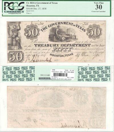 1838. $50. PCGS. VF-30. TX.