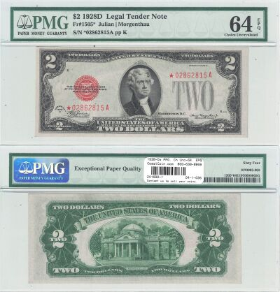 1928-D*. $2. F-1505*. PMG. Ch Unc-64. EPQ. Legal T