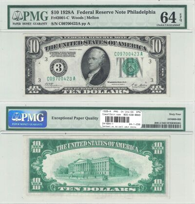 1928-A. $10. F-2001-C. PMG. Ch Unc-64. EPQ. Federa
