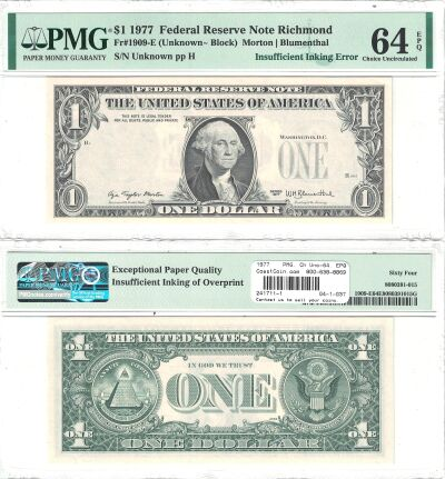 1977. $1. PMG. Ch Unc-64. EPQ. Federal Reserve Not