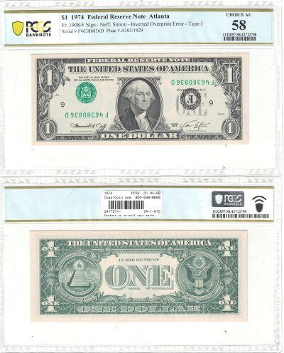 1974. $1. PCGS. Ch AU-58. Federal Reserve Note.