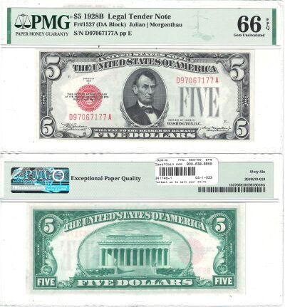 1928-B. $5. F-1527. PMG. Gem-66. EPQ. Legal Tender