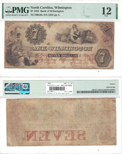 1855. $7. PMG. F-12. NC.