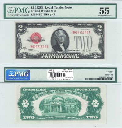 1928-B. $2. F-1503. PMG. AU-55. Legal Tender Note.