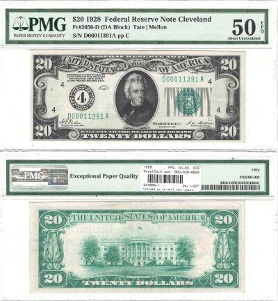 1928. $20. F-2050-D. PMG. AU-50. EPQ. Federal Rese