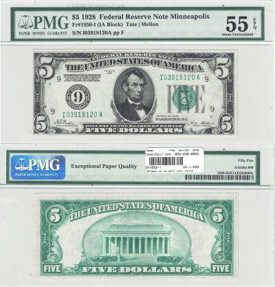 1928. $5. F-1950-I. PMG. AU-55. EPQ. Federal Reser