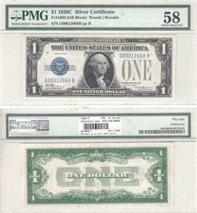 1928-C. $1. F-1603. PMG. Ch AU-58. Silver Certific