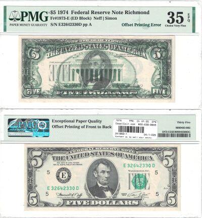 1974. $5. PMG. Ch VF-35. EPQ. Federal Reserve Note