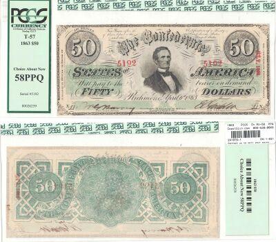 1863. $50. PCGS. Ch AU-58. PPQ. T-57.