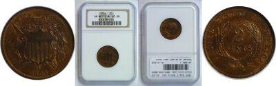 1864 Small Motto. NGC. MS-65. RB.