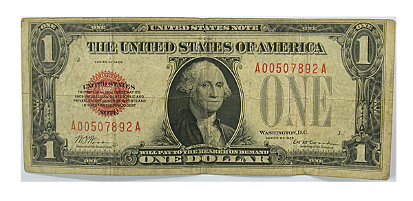 91545- 1928. $1. F-1500. FINE. Legal Tender Note.