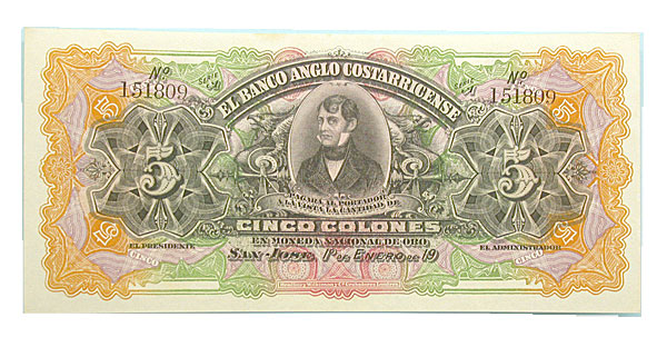 100674- 1904. Costa Rico. Five Colons. CCU.