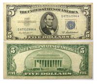1953. $5. FINE. Silver Certificate.
