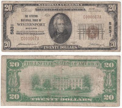 1929. $20. VG. MD. Westernport. Charter 5831.