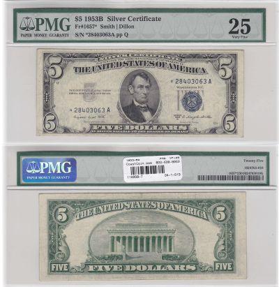 1953-B*. $5. F-1657*. PMG. VF-25. Silver Certifica