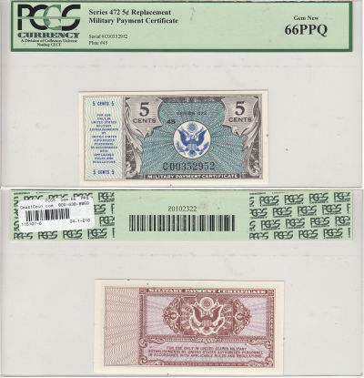 5c. Series 472. PCGS. Gem-66. PPQ.