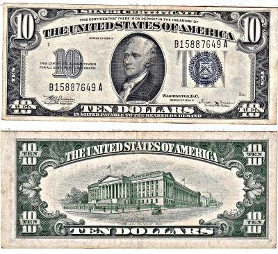 1934-B. $10. F-1703. XF. Silver Certificate.