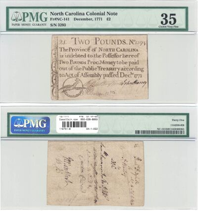 12/1771. NC. Two Pounds. PMG. Ch VF-35.