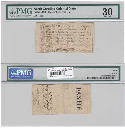12/1771. NC. One Pound. PMG. VF-30.