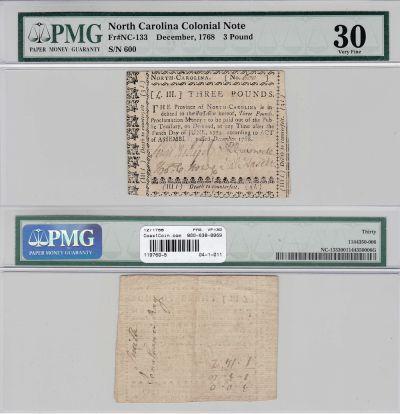 12/1768. NC. Three Pounds. PMG. VF-30.