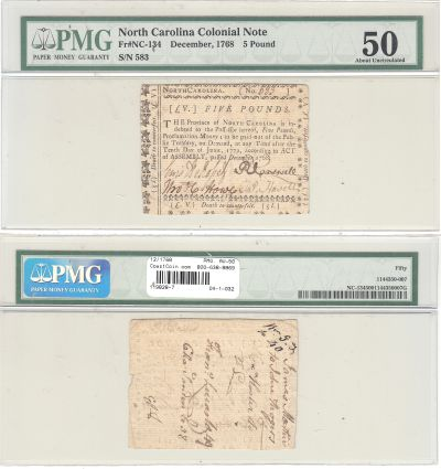 12/1768. NC. Five Pounds. PMG. AU-50.