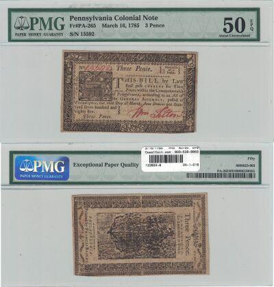 3/16/1785. PA. Three Pence. PMG. AU-50. EPQ.