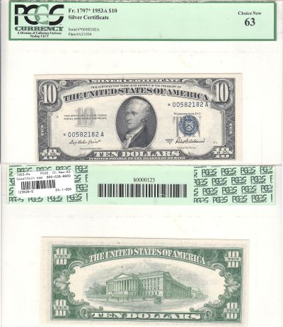 1953-A*. $10. PCGS. Ch New-63. Silver Certificate.