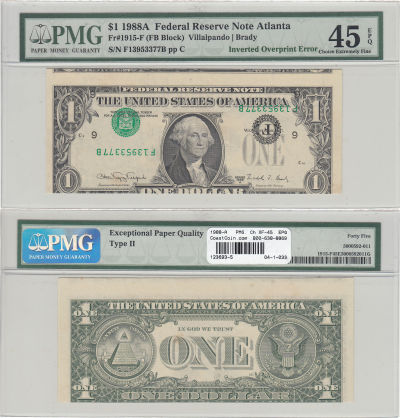 1988-A. $1. PMG. Ch XF-45. EPQ. Federal Reserve No