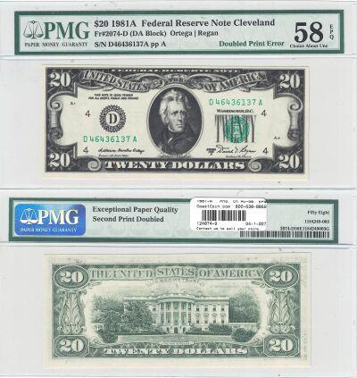 1981-A. $20. PMG. Ch AU-58. EPQ. Federal Reserve N