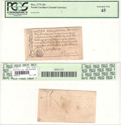 12/1771. NC. Ten Shillings. PCGS. XF-45.