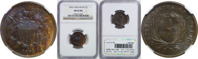 1864 Large Motto. NGC. MS-65. BN.